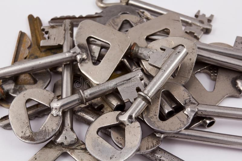 Download Heap of steel keys stock photo. Image of concept, white - 22847548