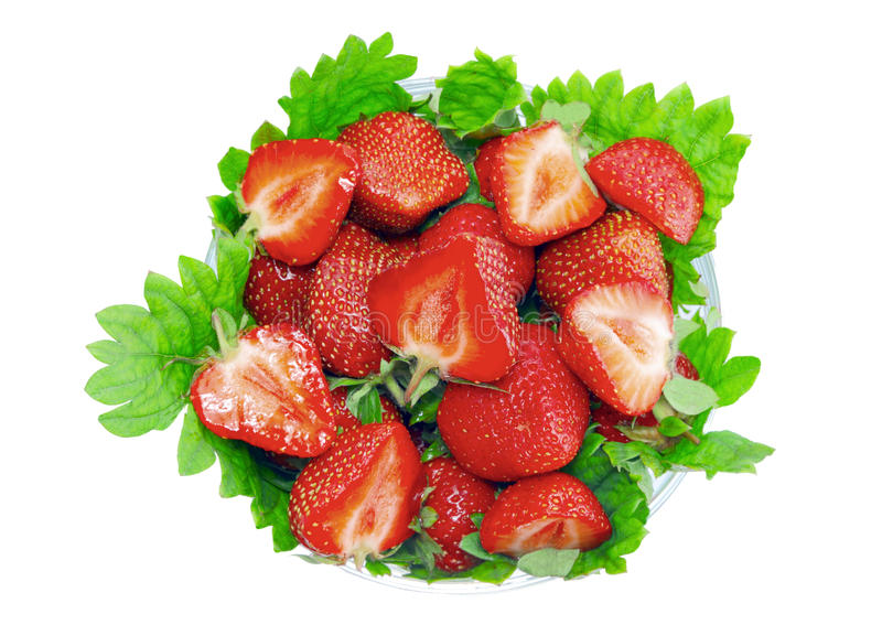 Download A Heap Of  Strawberries In Glass Bowl. Isolated Stock Photo - Image: 23062612