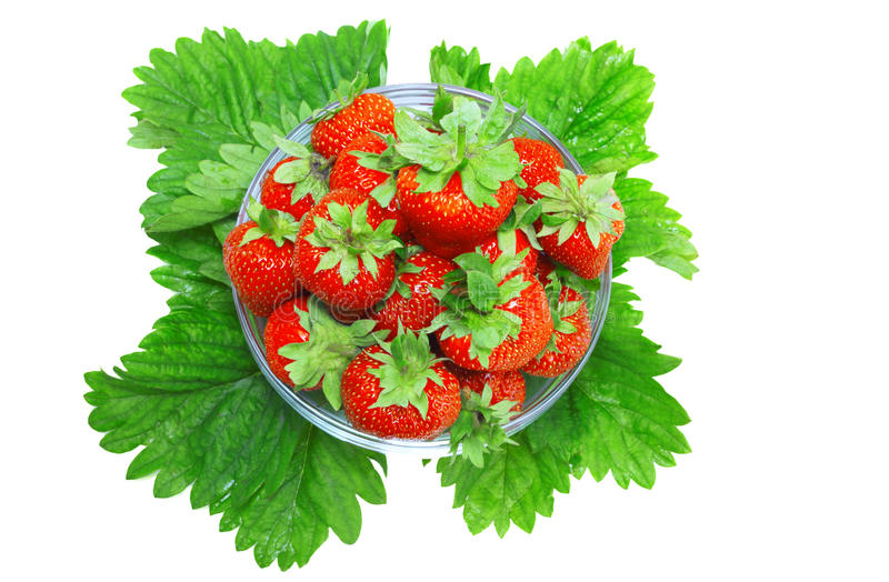 Download A Heap Of  Strawberries In Glass Bowl. Isolated Stock Photo - Image: 23063770