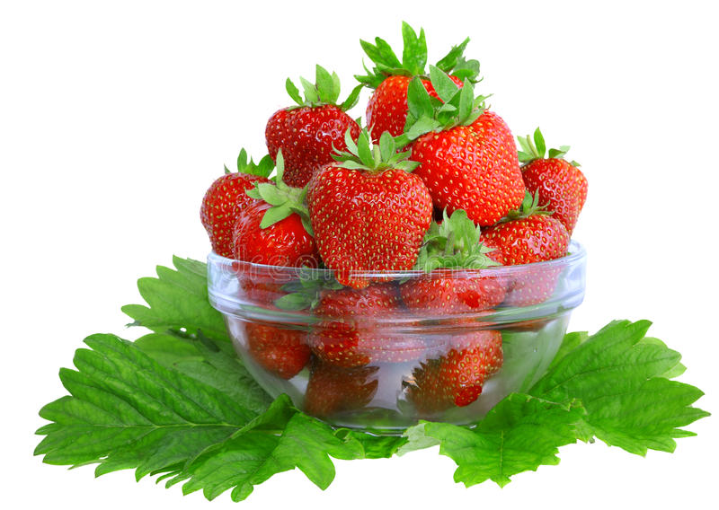 Download A Heap Of  Strawberries In Glass Bowl. Isolated Stock Image - Image: 23066123