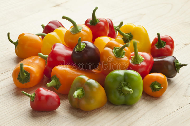 Heap of sweet mini peppers royalty free stock photography