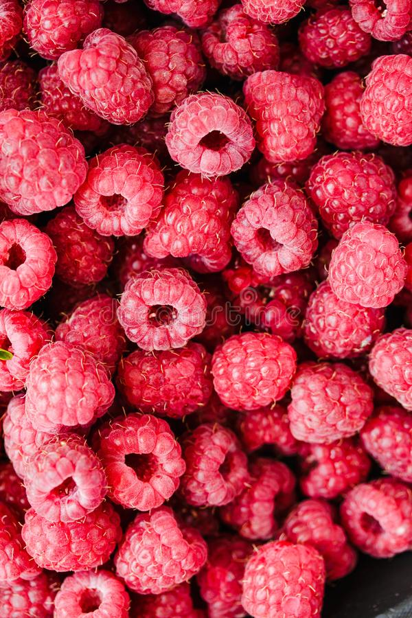 Heap of sweet red raspberry and basil close up. Fresh berry.Top stock photography