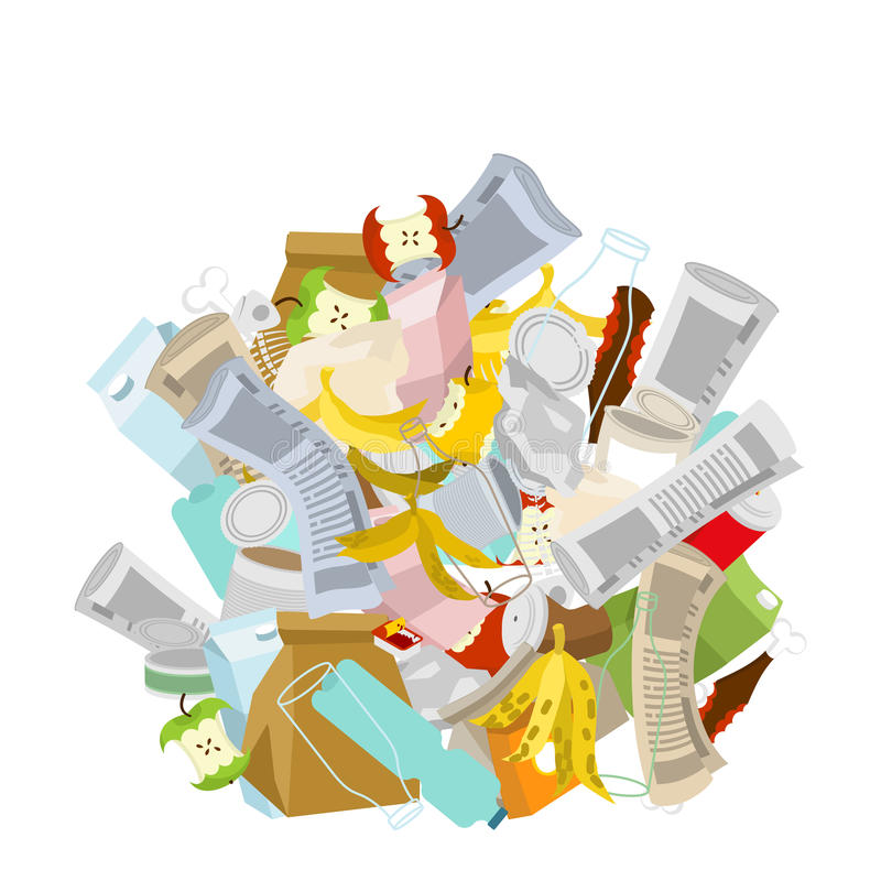 heap trash isolated. Pile Rubbish. Garbage Stack. litter background. peel from banana and stub. Tin and old newspaper. Bone and p royalty free illustration