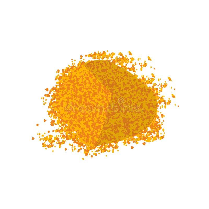 Heap of Turmeric. Curcumin Powder. Isolated on white background top vew. Vector illustration flat design stock illustration