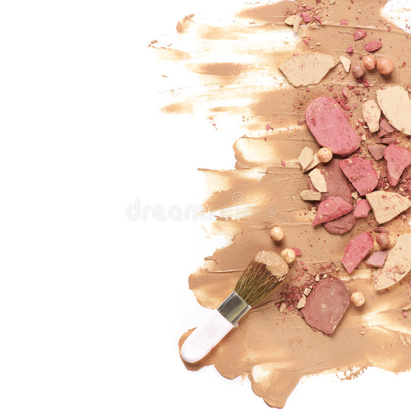 Heap of various crashed makeup products royalty free stock photos