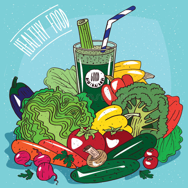 Heap of vegetables and glass of vegetable juice royalty free illustration