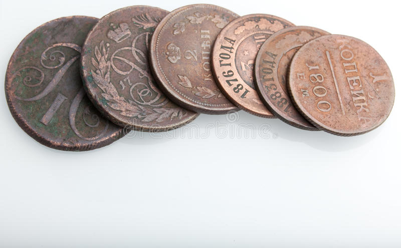 Heap of very old copper coins royalty free stock photo