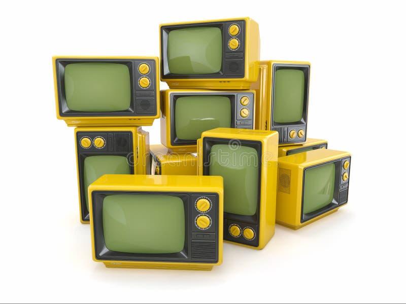 Heap of vintage tv. Heap of vintage tv on white background. 3d vector illustration