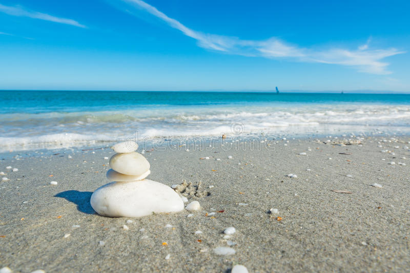 Heap of white stones in Sardinia. Italy stock images