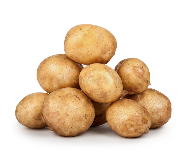 Heap of young potatoes isolated on white background. royalty free stock photo