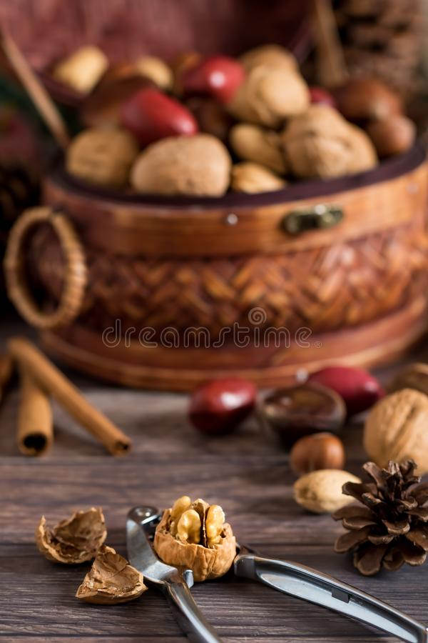 Heaping basket of mixed nuts and cracker royalty free stock photo