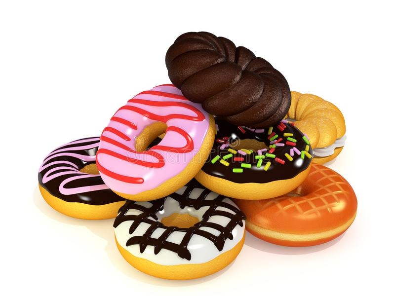 Heaping of donuts 3D rendering. Heaping donuts on white background. 3D rendering cg stock illustration