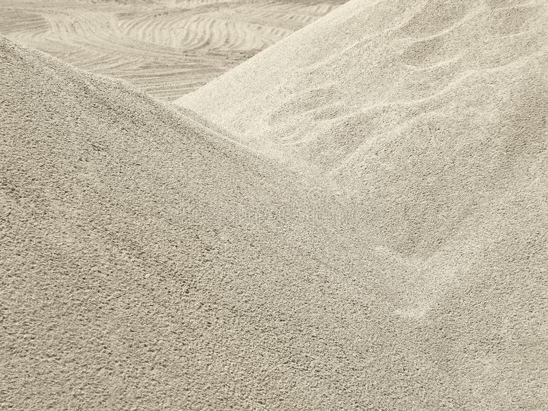 Heaps of sand, sandy slopes outdoors royalty free stock photography
