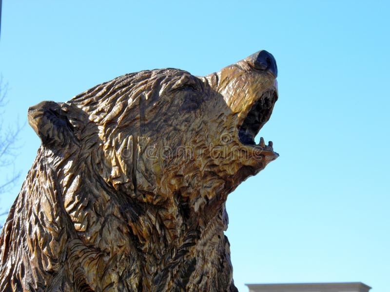 Hear me roar. Griz statue with teeth royalty free stock photo