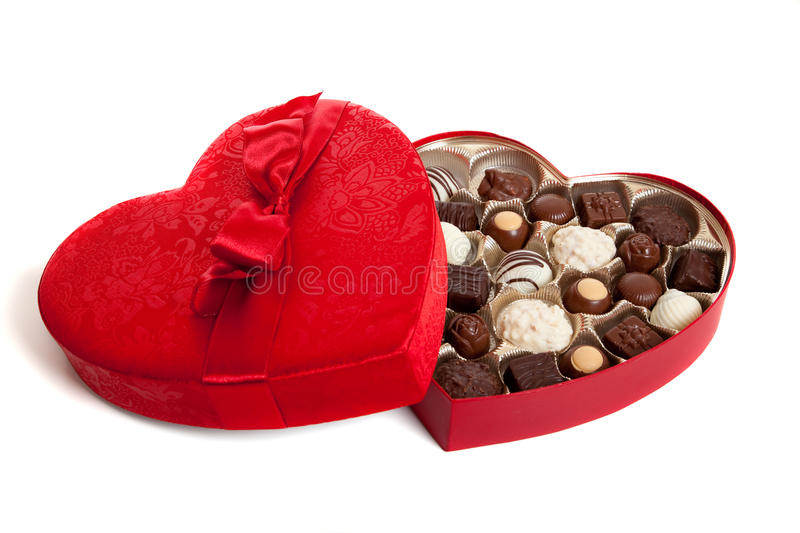 Hearat Shaped box with Candy stock photo