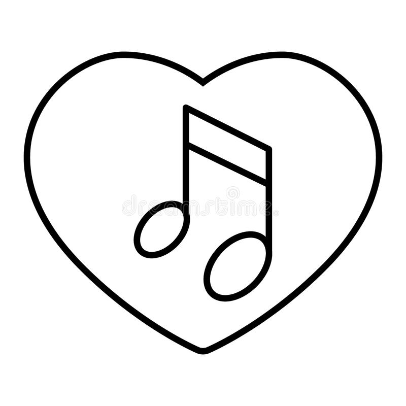 Heard and note thin line icon. Love song vector illustration isolated on white. Musical note outline style design vector illustration