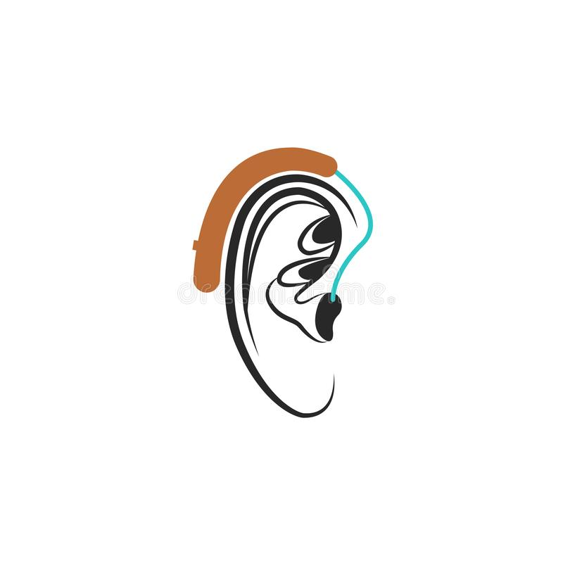 Hearing aid ear icon, medical vector illustration about hearing loss in humans royalty free illustration