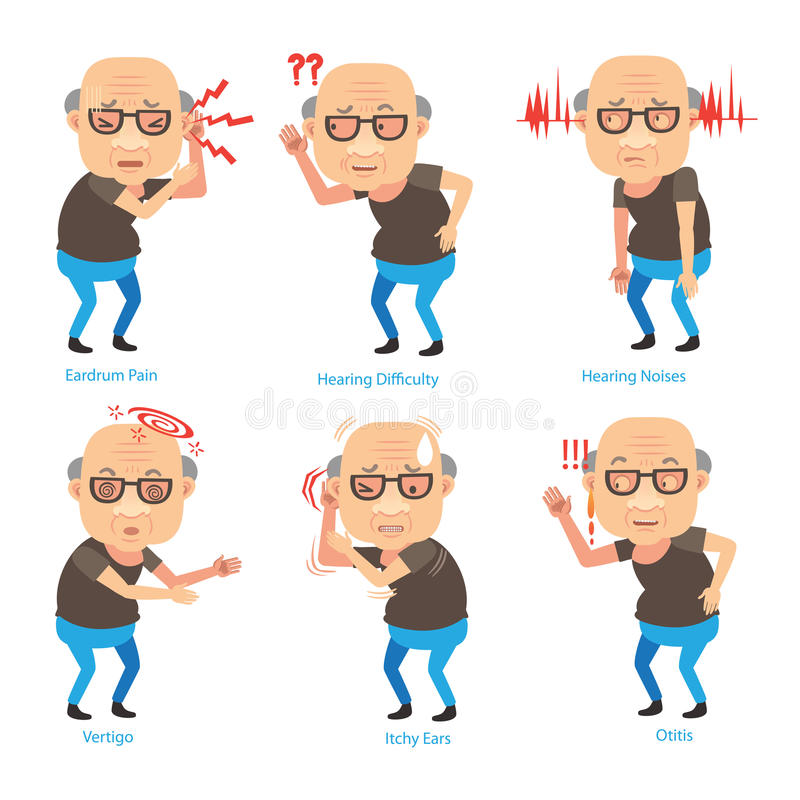 Hearing Loss. Old Man ear problems cupping his ear having difficulty hearing.Cartoon illustration royalty free illustration