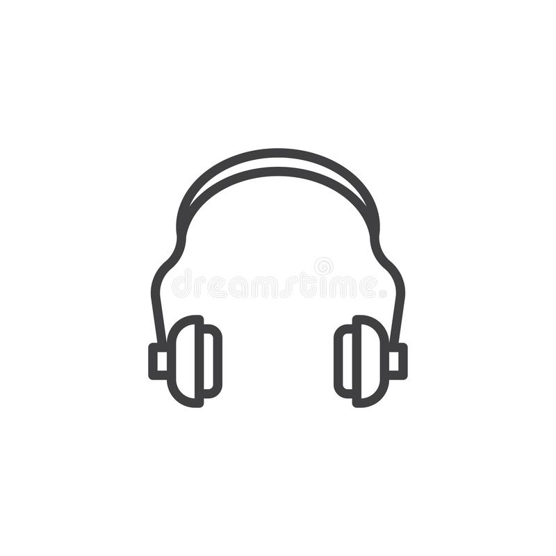 Hearing protection line icon vector illustration