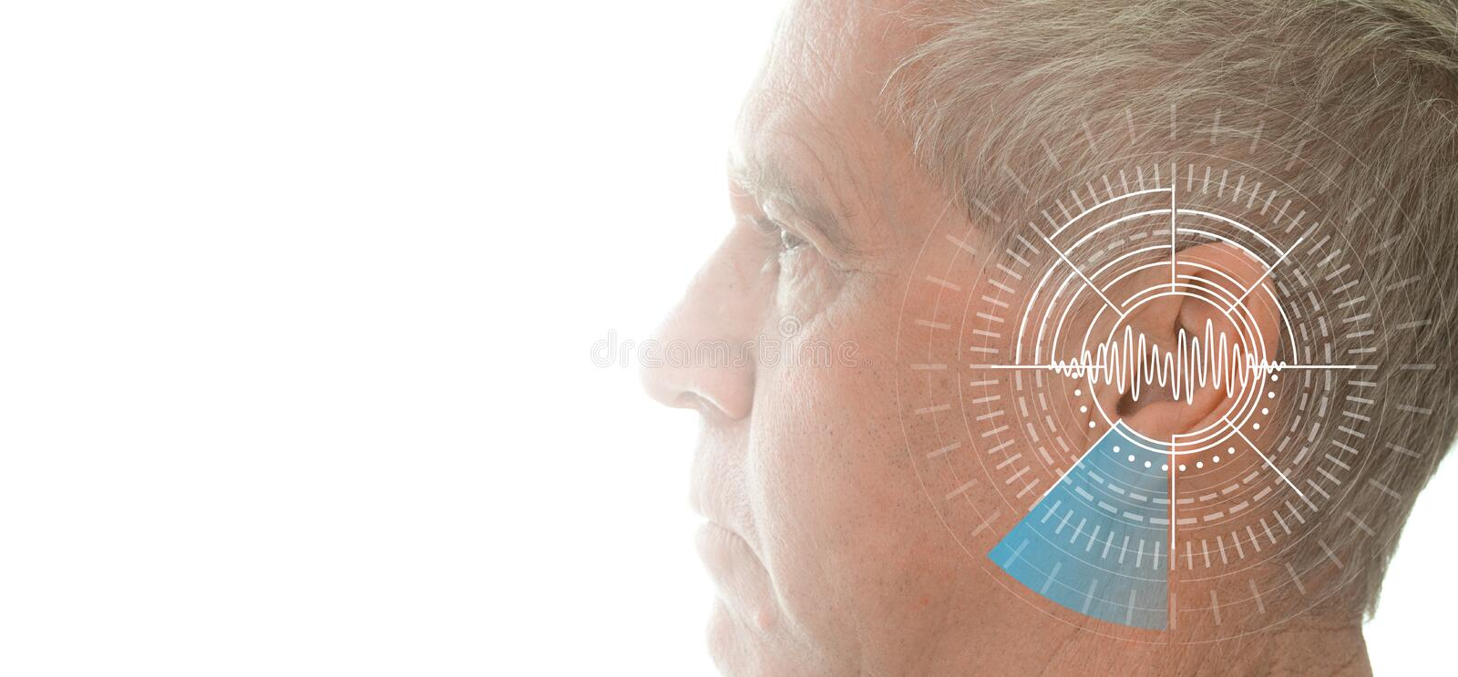 Hearing test showing ear of senior man with sound waves simulation technology. Isolated on white banner royalty free stock image