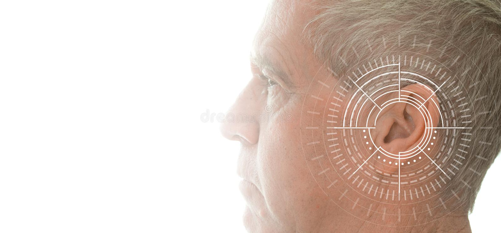 Hearing test showing ear of senior man with sound waves simulation technology. Isolated on white banner stock photography