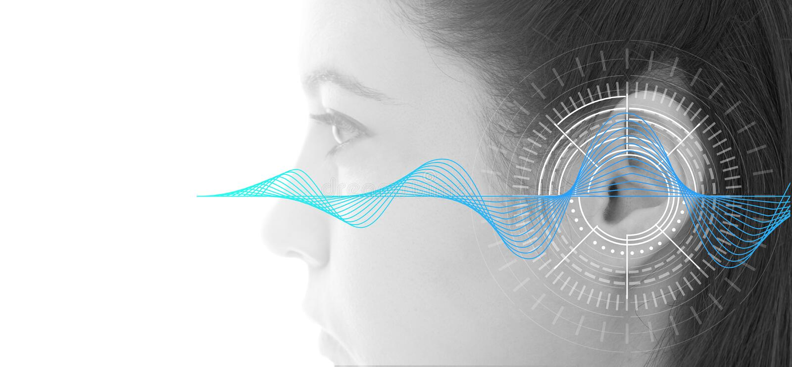 Hearing test showing ear of young woman with sound waves simulation technology. Isolated on white banner - black and white