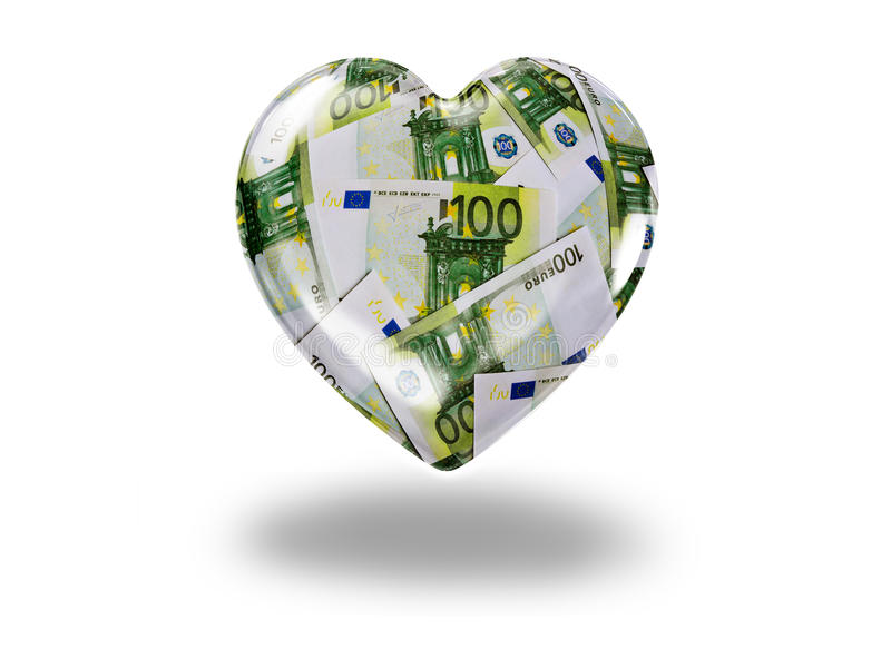 Download Heart with 100 euro bills stock photo. Image of business - 37935810