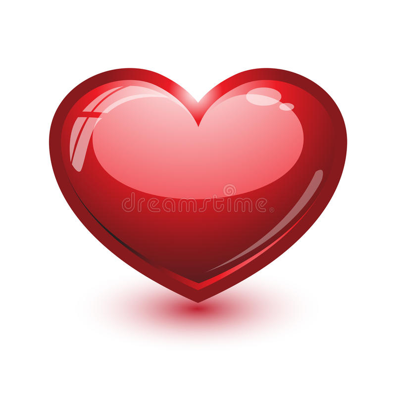 Heart. Vector illustration of cute glossy heart isolated on white