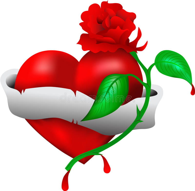 Heart. With a flower and a tape vector illustration