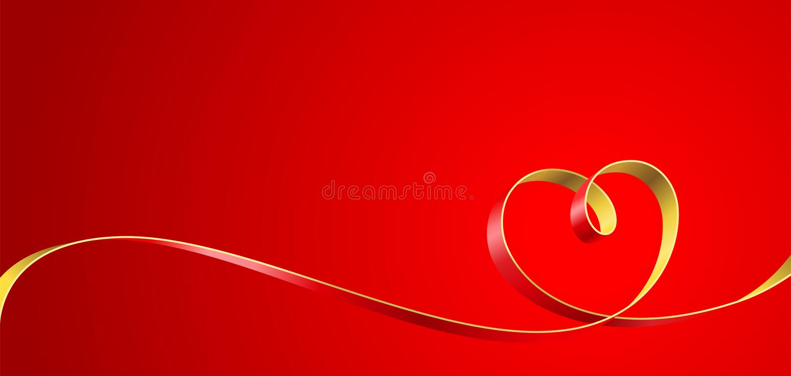 Heart. Ribbon entwined in a heart on a red background. Vector illustration royalty free illustration