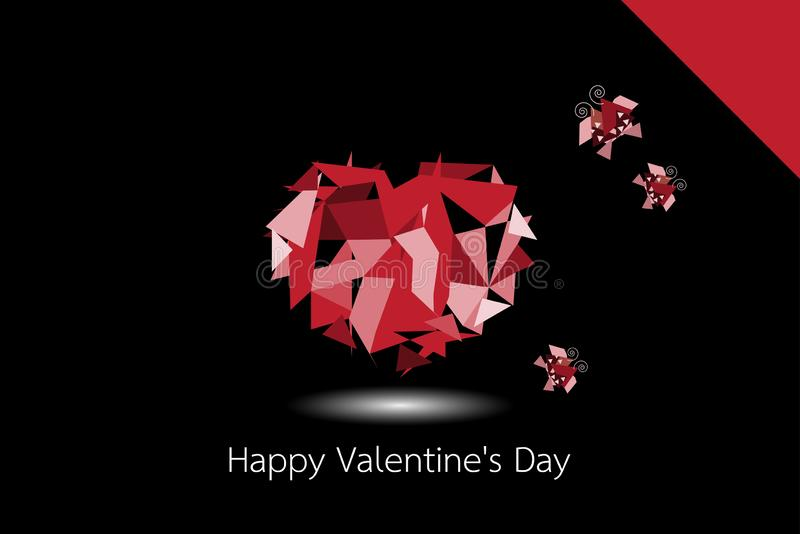 Happy valentine`s day The red heart shape is made from polygon lines. The red heart shape is made from polygon lines with Butterfly on black background. happy stock illustration