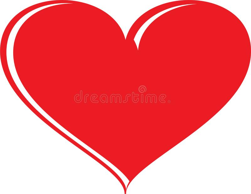 Red And White Heart Shape. A beautiful red and white heart shape with pointed apex, and wide round at the top stock illustration