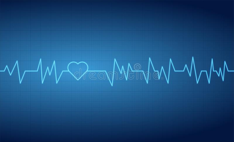 Heart beats pulse cardiogram grid lines background royalty free illustration