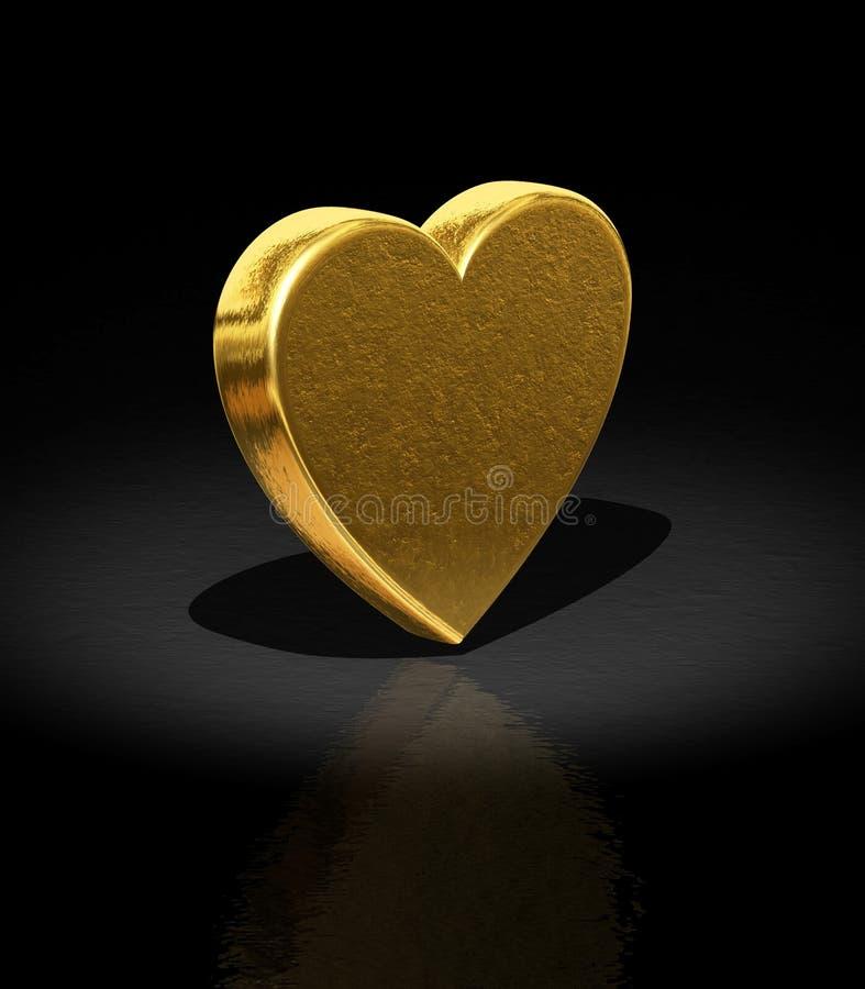 Heart. 3d Gold heart - Love background stock illustration