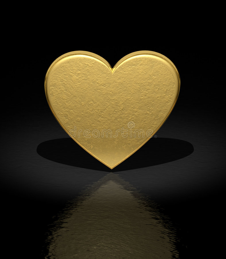 Heart. 3d Gold heart - Love background - Front view royalty free illustration