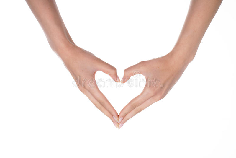 Heart. Two hands make heart shape on white background royalty free stock photography