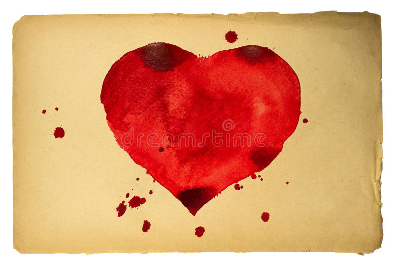 Heart. Old sheet of paper with red heart stock illustration