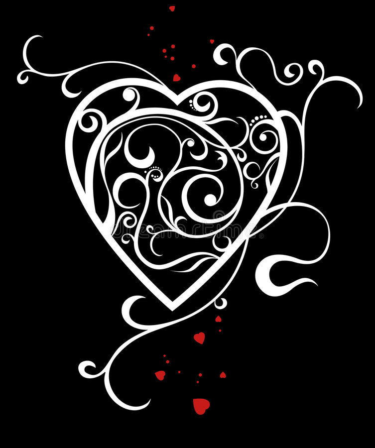 Heart. White heart with a decorative pattern on a black background