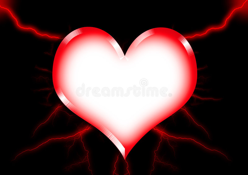 Heart. The Heart have red colour lightning with black colour background