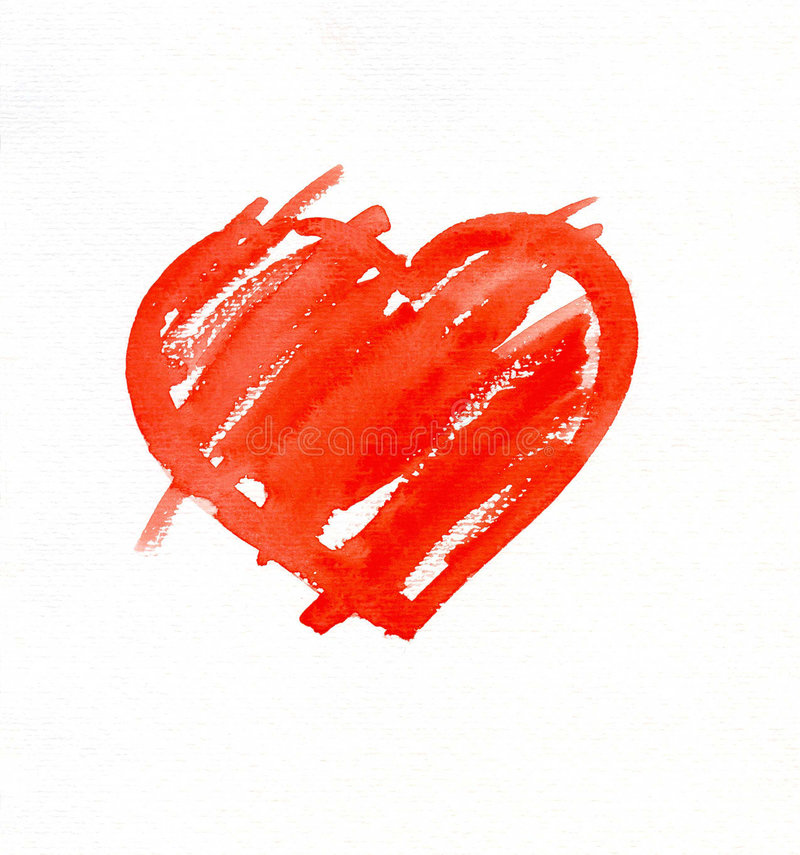 Heart. Hand-painted watercolor simply red heart.Interesting watercolor paper texture stock image