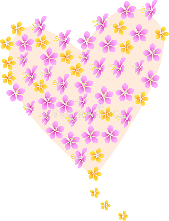 Heart. The vector illustration containing the flower of the heatr stock illustration