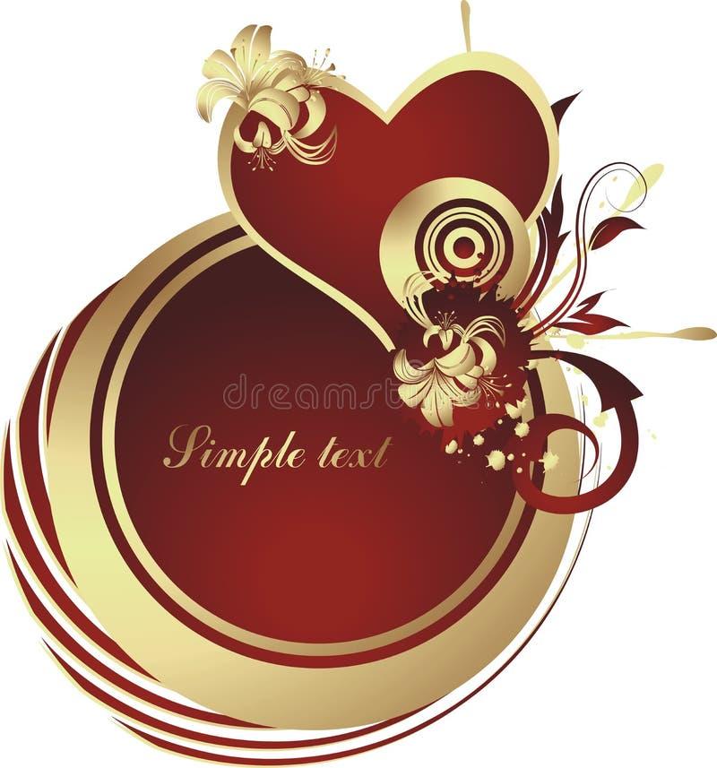 Heart. Enamoured heart in a gold frame against a gold vegetative ornament vector illustration