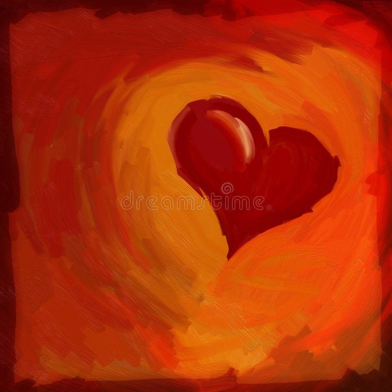 Heart. Oil Painting. Heart on red background stock illustration