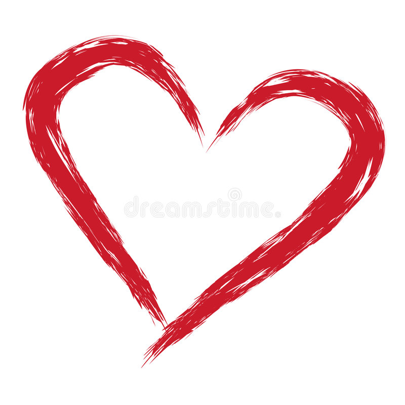 Heart. Illustration of brush red love heart isolated over white background