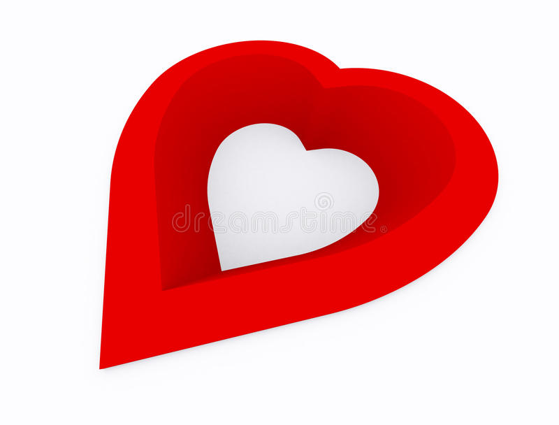 Heart. Abstract,hole of  red color on white background,3d perspective vector illustration