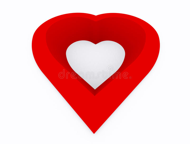 Heart. Abstract,hole of  red color on white background,3d perspective stock illustration