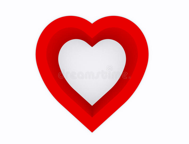 Heart. Abstract,hole of  red color on white background,3d top view royalty free illustration
