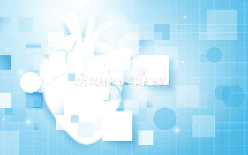 Heart and Abstract rectangles with science concept on soft blue background. stock illustration