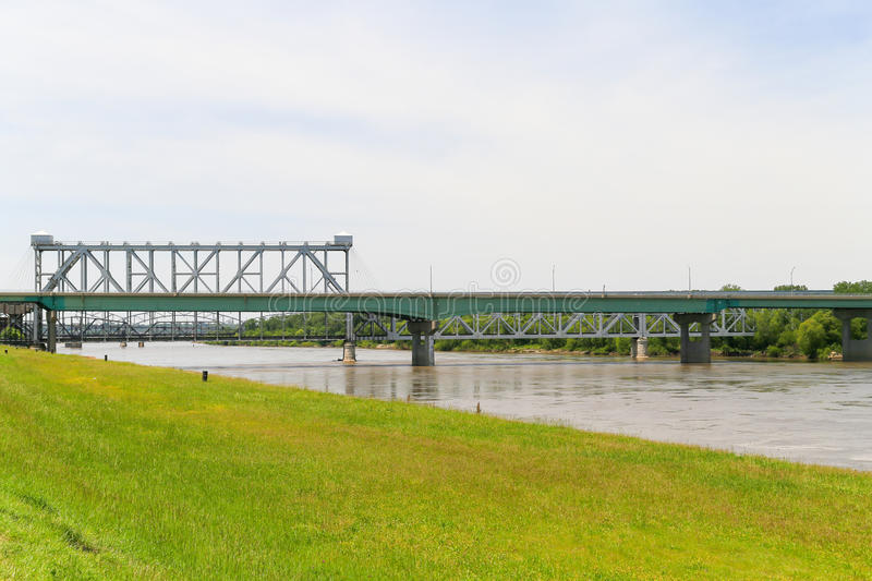 Heart of America Bridge and ASB Bridge. Kansas City, USA - May 21, 2016: The Heart of America Bridge in front of the ASB Bridge over the Missouri River at royalty free stock photography