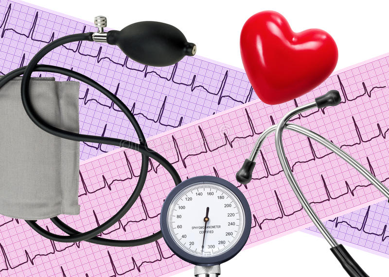 Heart analysis, electrocardiogram graph, stethoscope, heart royalty free stock photos